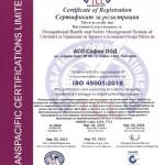 Система за управление на здравословните и безопасни условия на труд, в съответствие с изискванията на стандарт ISO 45001: 2018, Anzsic codе:3234, 7712, №0-2069, със срок на валидност до 03.09.2022 г.